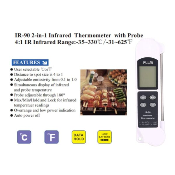 Infracrveni termometar sa sondom FLUS IR 90